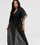 DESIGN Curve recycled kimono sleeve tie back chiffon maxi beach dress in  black