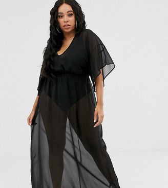 Asos DESIGN Curve recycled kimono sleeve tie back chiffon maxi beach dress in black