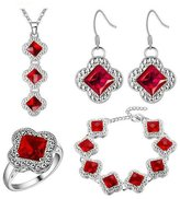 Babao Jewelry Jewelry Sets Babao Jewelry Luxury Red Square 925 Sterling Silver Plated Brass Cubic Zirconia Crystals Pendant Necklace Earrings Bracelet Set Ring Size 7
