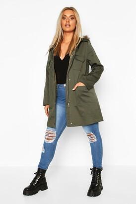 boohoo Plus Pocket Detail Faux Fur Trim Hooded Parka