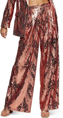 Topshop Sequin Slouch Wide Leg Pants