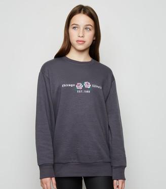 New Look Girls Chicago Illinois Slogan Sweatshirt