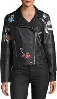 Brandon Thomas Faux-Leather Moto Jacket w/Floral Detail