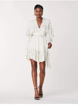 Diane von Furstenberg Martina Chiffon Ruffled Mini Wrap Dress
