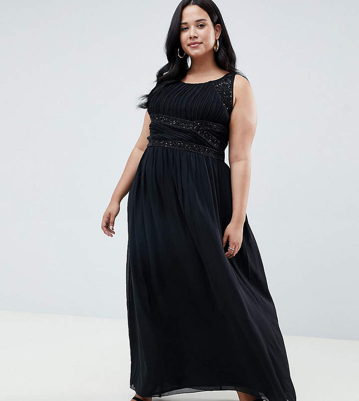 Plus Plus pleated embellished maxi dress