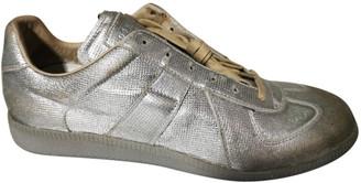 Maison Margiela Replica Silver Leather Trainers