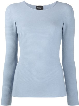Giorgio Armani Ribbed-Knit Long-Sleeved Sweater
