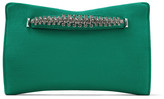Jimmy Choo VENUS Emerald Suede Clutch Bag with Crystal Detailing