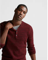 Express cotton tuck stitch henley sweater