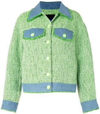 Sjyp Denim-Tweed Mixed Jacket