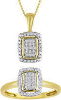 JCPenney FINE JEWELRY 1/10 CT. T.W. Diamond 10K Yellow Gold Pendant Necklace and Ring Set