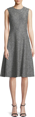 Lela Rose Sequin Sleeveless Seamed Fit-and-Flare Dress