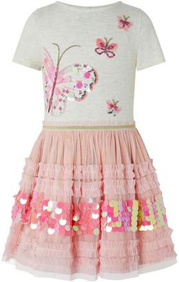 Monsoon Sequin Butterfly Disco Dress Pink