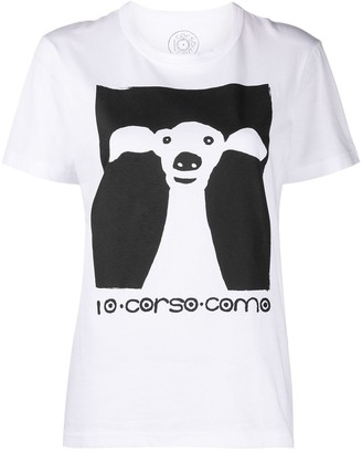 10 Corso Como Dog-Print Short-Sleeved T-Shirt