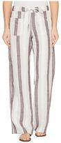 Allen Allen Four-Pocket Stripe Long Linen Pants Women's Casual Pants