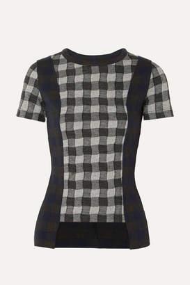 Maison Margiela Paneled Checked Jersey T-shirt - Gray