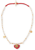 Katerina Makriyianni - Gold-plated, Pearl And Wool Necklace - Ivory