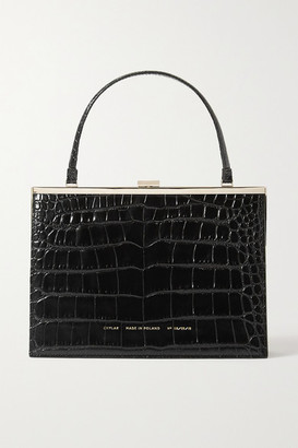 Chylak - Vintage Clasp Glossed Croc-effect Leather Tote - Black