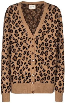 KHAITE Amelia leopard-print cashmere cardigan