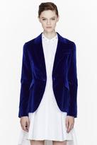 Alexander McQueen Royal blue Velvet peplum blazer