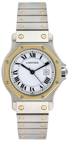 Cartier Vintage Santos Octagon Midsize 18K Yellow Gold & Stainless Steel Automatic Watch, 30mm
