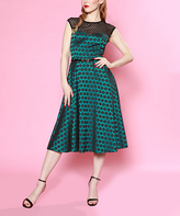 Bettie Page Teal Dance With Me Dress - Plus Too