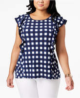 Belldini Plus Size Gingham Flutter-Sleeve Top