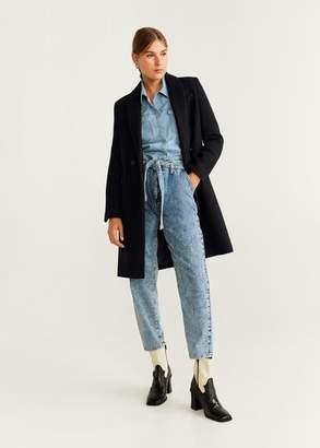 MANGO Lapels wool coat ecru - XXS - Women