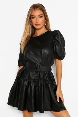 boohoo PU Drop Hem Tie Waist Shift Dress