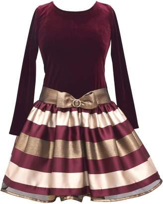 Iris & Ivy Little Girl's Metallic Stripe Velvet Dress