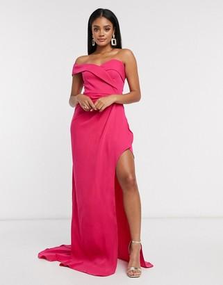 Yaura one shoulder bardot maxi dress in fuchsia pink