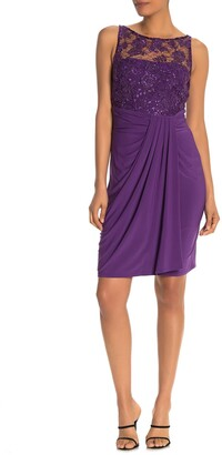 Marina Embroidered Bodice Draped Sheath Dress