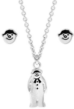 Rhona Sutton Snowman Pendant Necklace and Earring Set