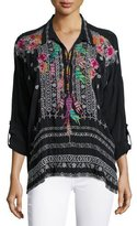 Johnny Was Indie Feather-Embroidered Blouse