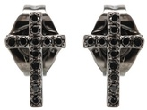 Sydney Evan Mini Cross 14kt Black Gold Earrings With Black Diamonds