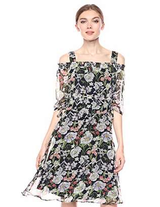 Sam Edelman Women's Elbow Sleeve Fit and Flare Floral Dress with Smocked Back