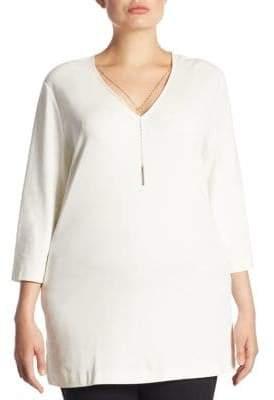 Joan Vass Women's Chain-Detail Tunic - Black - Size XL