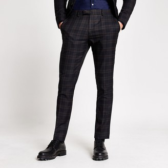 River Island Navy check skinny fit suit trousers