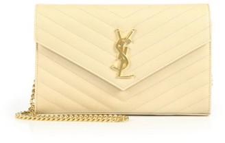 Saint Laurent Medium Monogram Matelasse Leather Wallet-On-Chain