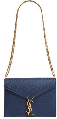 Saint Laurent Medium Cassandra Ostrich Leather Shoulder Bag