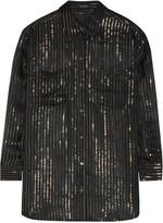 Equipment + Kate Moss Daddy metallic striped silk-chiffon shirt