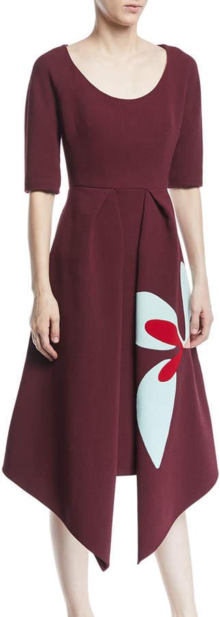 DELPOZO Scoop-Neck Short-Sleeve Asymmetric-Hem Dress w/ Floral-Print