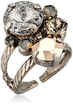 """Sorrelli Gold Vermeil"""" Crystal Assorted Rounds Ring, Size 7-9"""