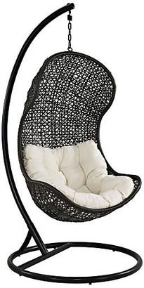 One Kings Lane Bermuda Patio Swing Chair - frame, espresso; upholstery, white