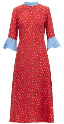 HVN Ashley Heel-print Silk Midi Dress - Red Multi