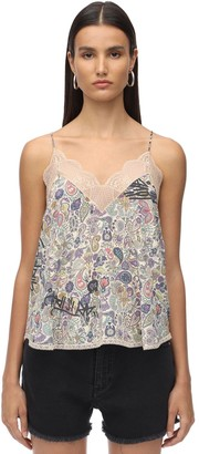 Zadig & Voltaire Lace & Stretch Muslin Camisole Top