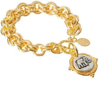 Susan Shaw Women's Bracelets Pearl - 24k Gold-Plated Two-Tone Elephant Charm Bracelet