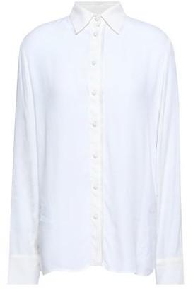Maje Cosmos Fringe-trimmed Crepe De Chine Shirt