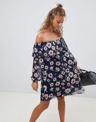 Glamorous floral off shoulder dress-Navy