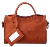 Balenciaga Blackout City Extra Small Leather Shoulder Bag.